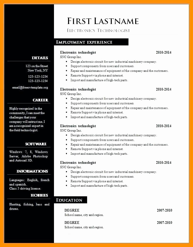 Unique Resume Templates Free Word New Cv Gratuit Word Moderne Download Free Creative Resume