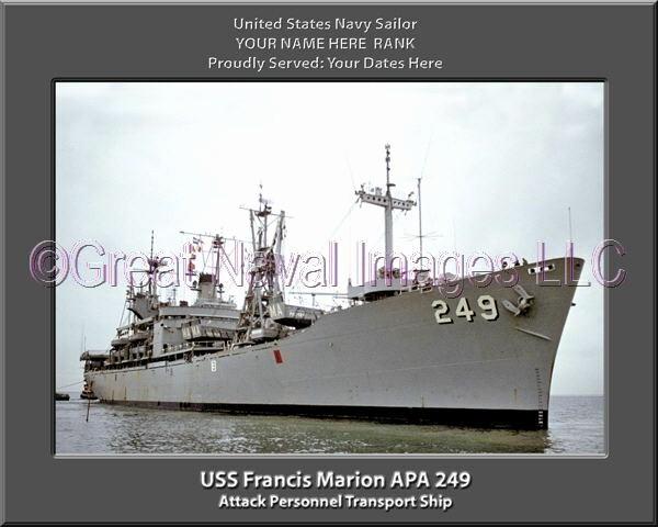 Us or U.s. Apa Luxury Uss Francis Marion Apa 249 Personalized Canvas Ship