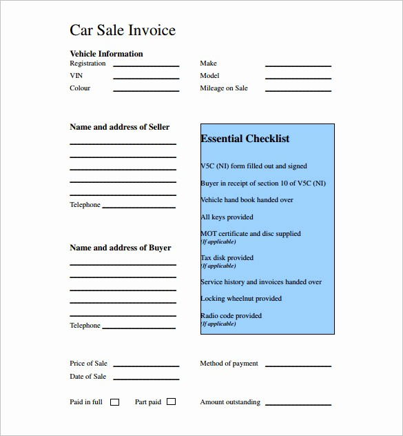 Used Car Sales Receipt Template Awesome Used Car Sales Invoice Template Uk