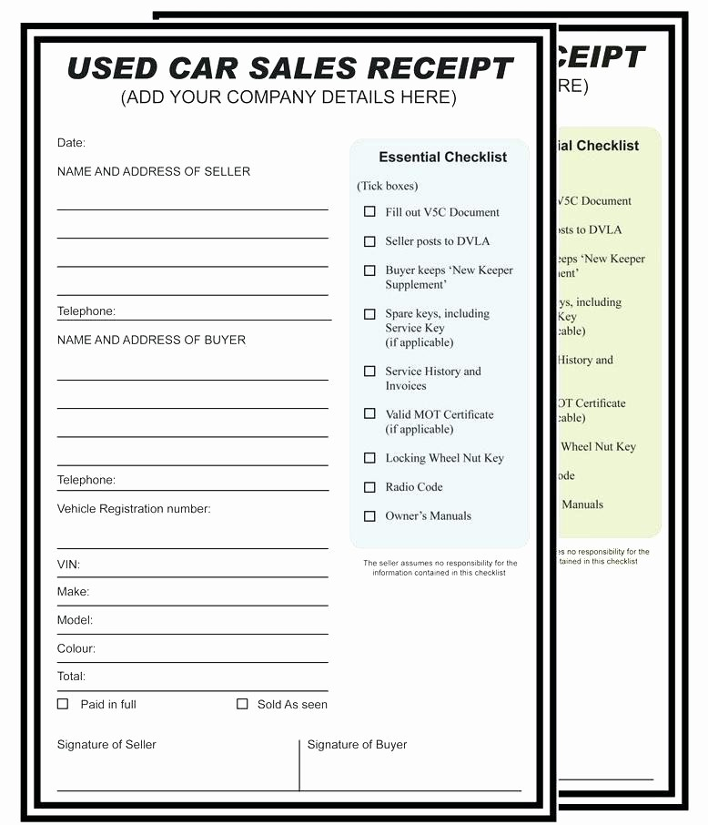Used Car Sales Receipt Template Beautiful Second Hand Car Receipt Blank Aa Second Hand Car Receipt