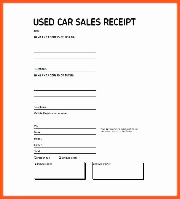 Used Car Sales Receipt Template Best Of Sales Receipt Templates Vehicle Sales Receipt Example