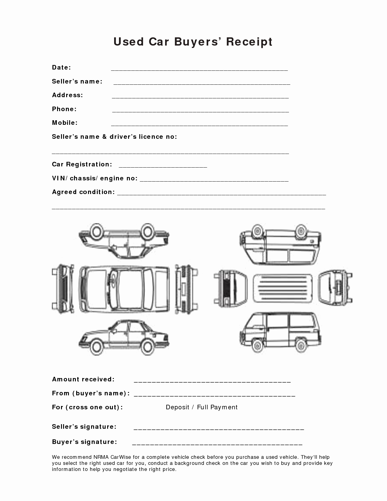 Used Car Sales Receipt Template Elegant 12 Best Of Used Car Deposit Agreement Car Sale