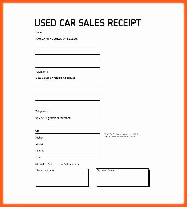 Used Car Sales Receipt Template Elegant sold as is Car Template – Threestrands