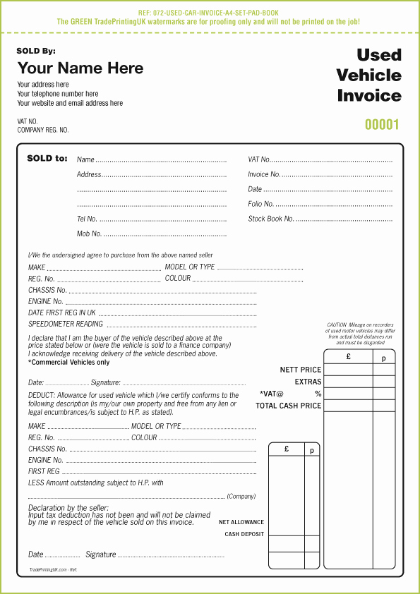Used Car Sales Receipt Template Fresh Used Car Sales Invoice Template Uk