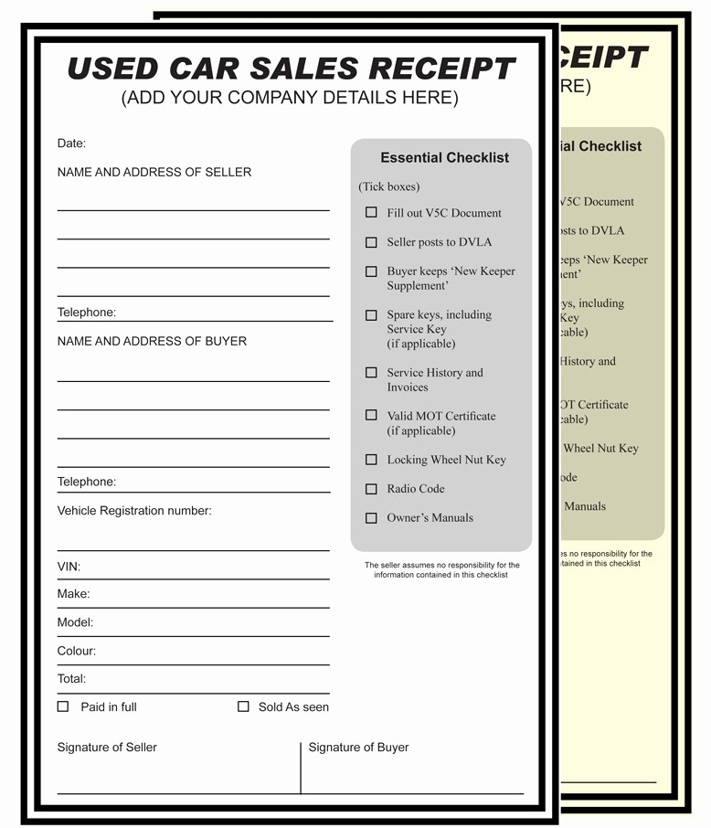 Used Car Sales Receipt Template Lovely Car Sales Receipt Cake Ideas and Designs