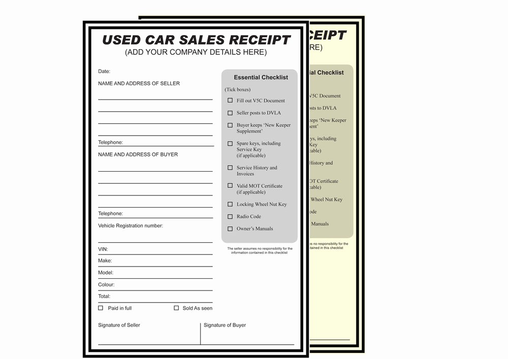 Used Car Sales Receipt Template Lovely Used Car Sales Receipt Personalised Printed A4 2 Part Ncr