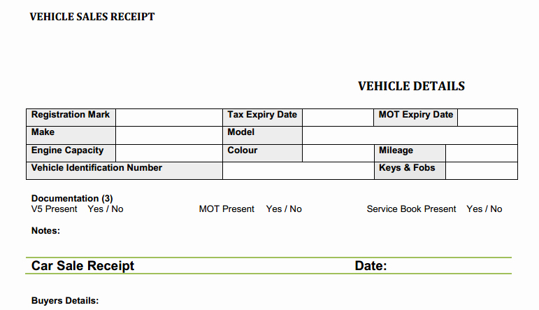 Used Car Sales Receipt Template New Used Car Sales Invoice Template Uk