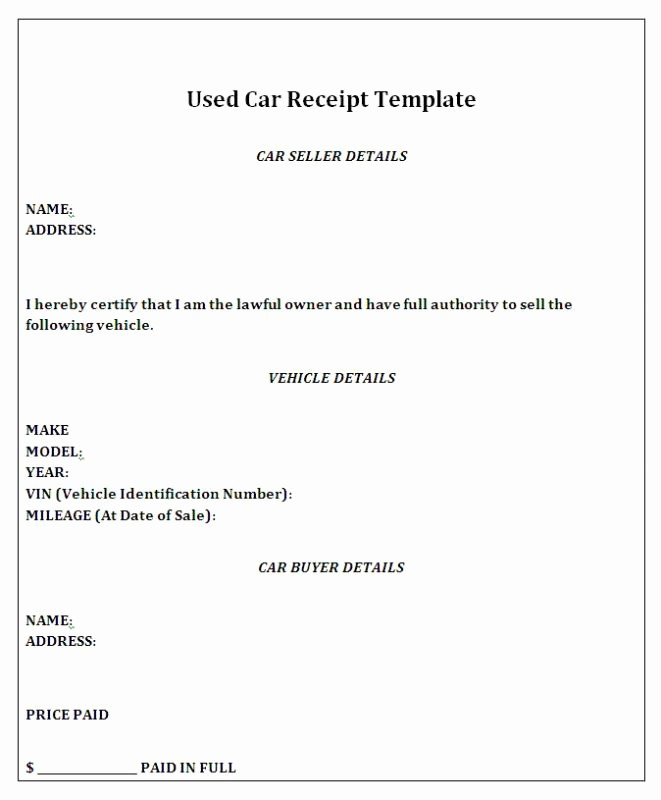 Used Car Sales Receipt Template Unique Car Sale Receipt Template