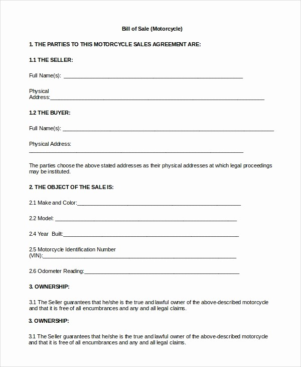 Used Motorcycle Bill Of Sale New Bill Sale form Free Bill Sale Template Us Lawdepot