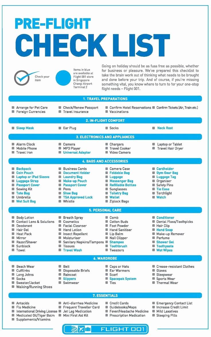 travel checklist