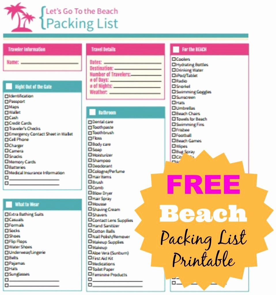 Vacation to Do List Printable Beautiful Free Beach Packing List Printable