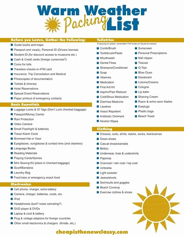 Vacation to Do List Printable Inspirational Diy Cruise Itinerary Free Warm Weather Packing List