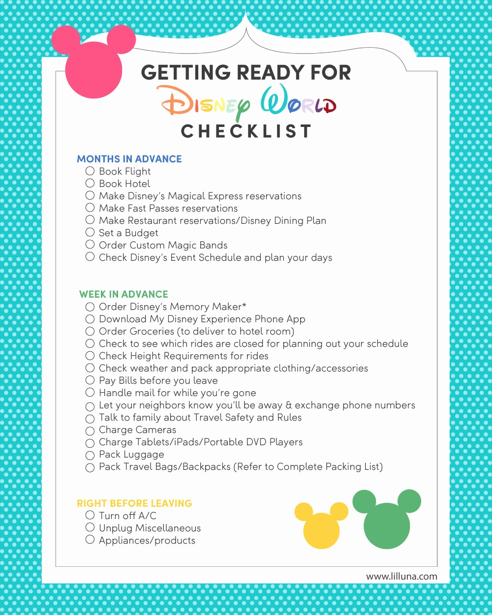 Vacation to Do List Printable Inspirational Planning Your Trip to Walt Disney World