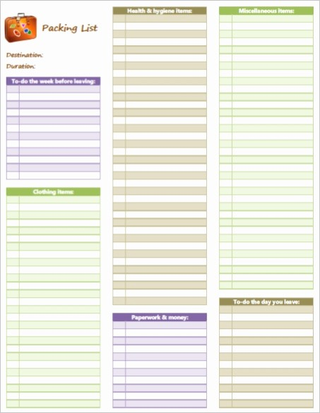 Vacation to Do List Template Awesome Blank Packing Checklist