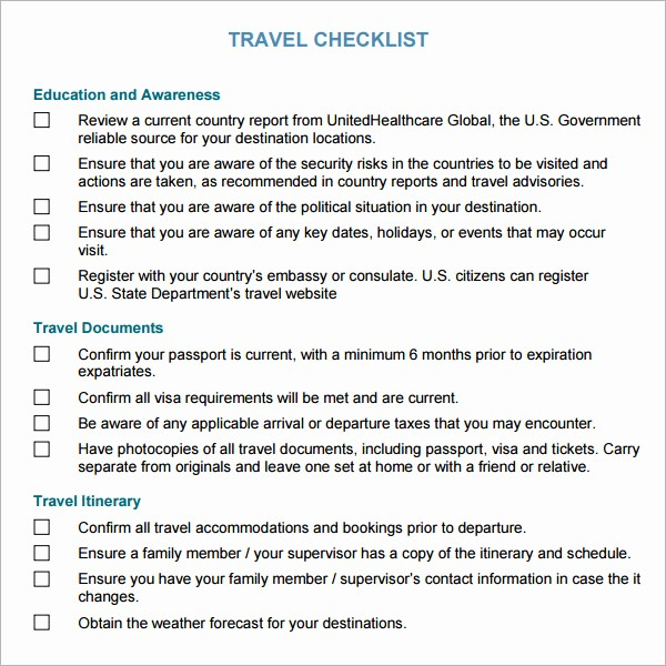 Vacation to Do List Template Elegant 7 Travel Checklist Samples