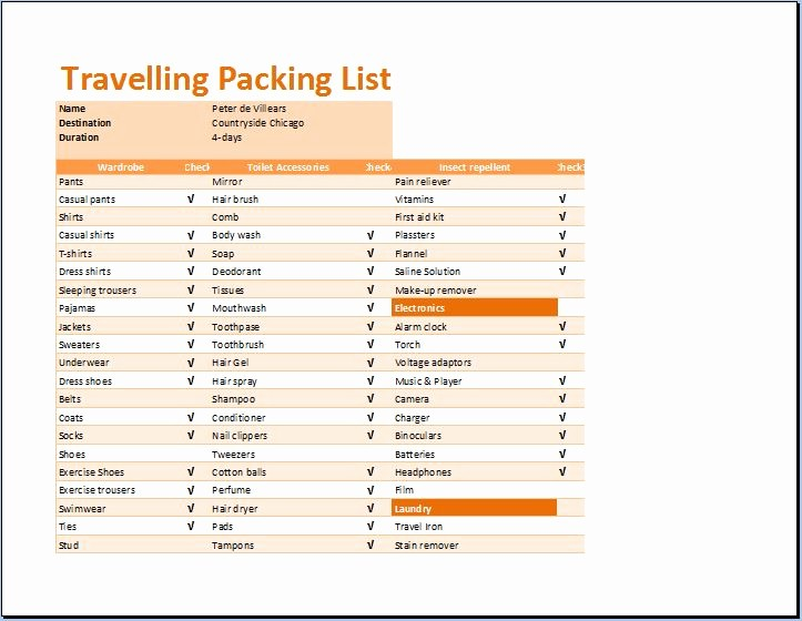 Vacation to Do List Template Fresh Printable Travelling Packing List Template