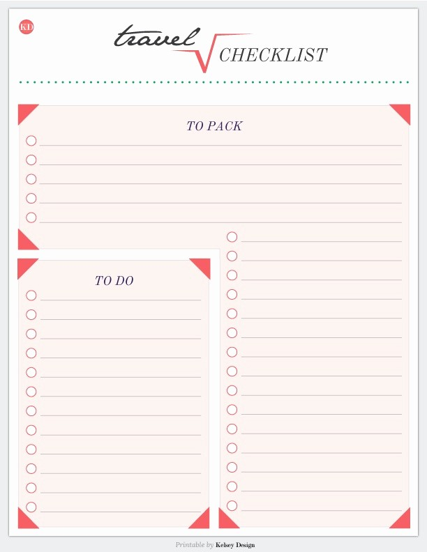 Vacation to Do List Template Fresh Travel Printable Checklist