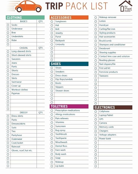Vacation to Do List Template Lovely Printable Trip Pack List In 2019 Get organized