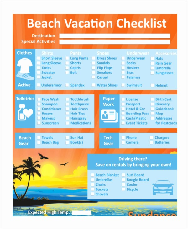 Vacation to Do List Template Luxury Vacation Checklist Template 12 Free Pdf Documents
