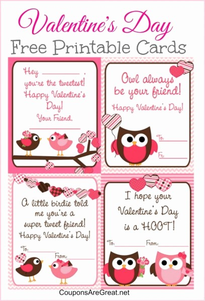 Valentine Card Templates for Kids Inspirational Free Printable Valentine S Day Cards for Kids with Owls