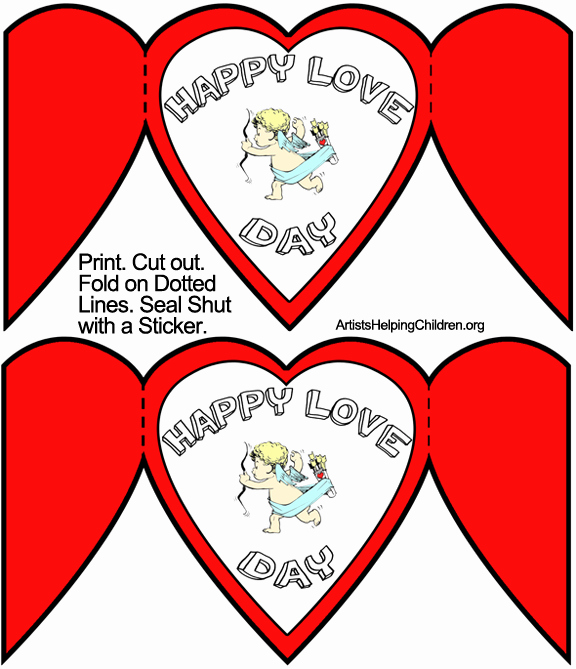 Valentine Card Templates for Kids Lovely Colored Template