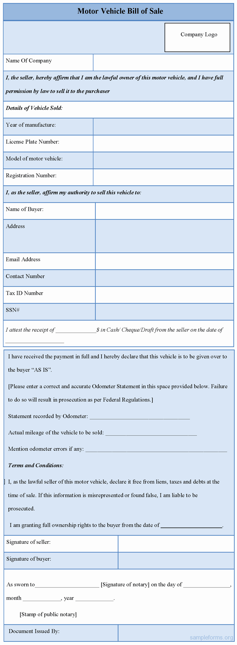 Vehicle Bill Of Sale forms Best Of Motor Vehicle Bill Of Sale form Sample forms