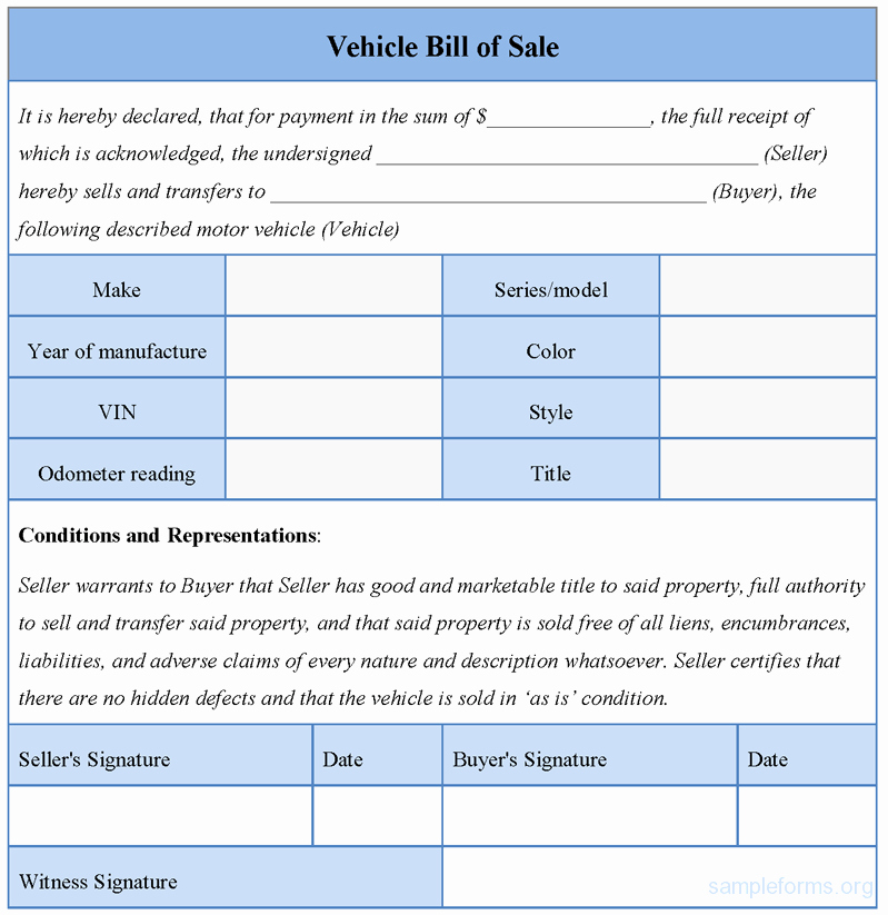 Vehicle Bill Of Sale forms Elegant Vehicle Bill Of Sale form Sample forms