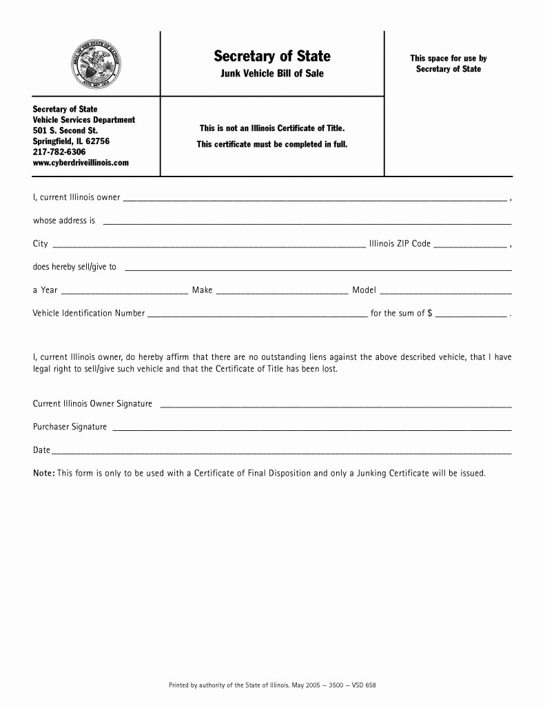 Vehicle Bill Of Sale forms Fresh Free Illinois Junk Vehicle Bill Of Sale form Pdf