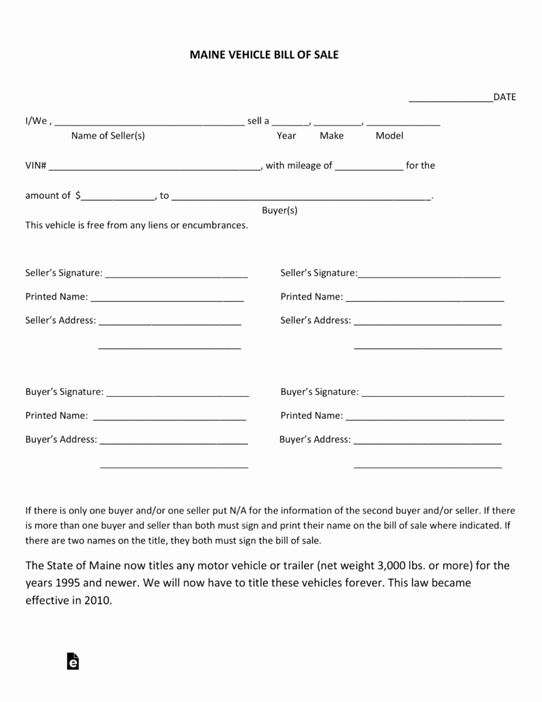 Vehicle Bill Of Sale forms Luxury Free Maine Motor Vehicle Bill Of Sale form Pdf