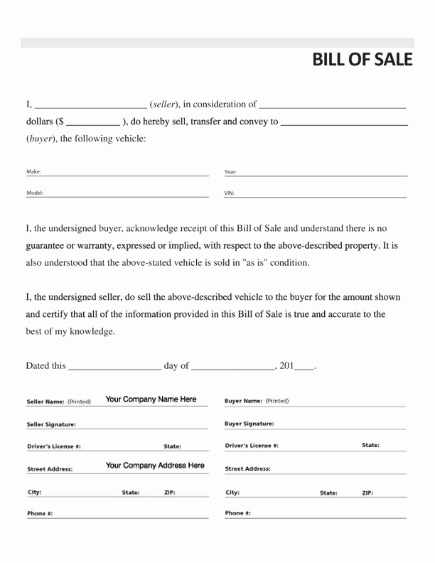 Vehicle Bill Of Sales Template Beautiful Free Printable Car Bill Of Sale form Generic