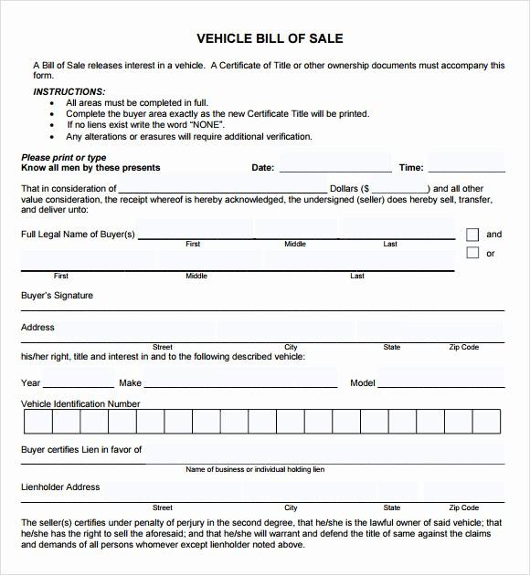 Vehicle Bill Of Sales Template Best Of 14 Sample Vehicle Bill Of Sales – Pdf Word