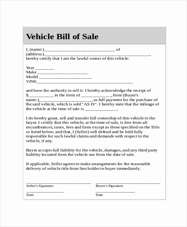 Vehicle Bill Of Sales Template Elegant Generic Bill Of Sale Template 12 Free Word Pdf