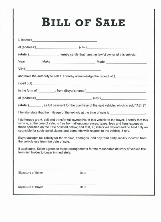 Vehicle Bill Of Sales Template Inspirational Clear Old Used Car Bill Sale form S