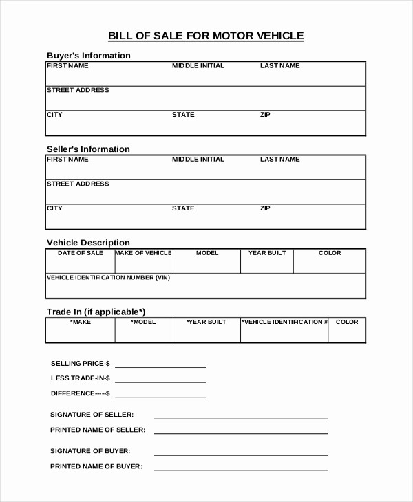 Vehicle Bill Of Sales Template New Vehicle Bill Of Sale Template 14 Free Word Pdf