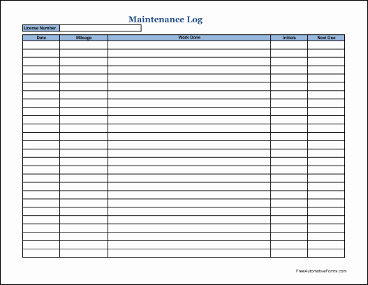 Vehicle Maintenance Log Book Pdf New Truck Maintenance Log Free Download the Best Home