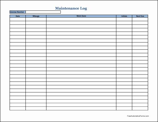 Vehicle Maintenance Log Book Pdf New Truck Maintenance Log Free Download the Best Home