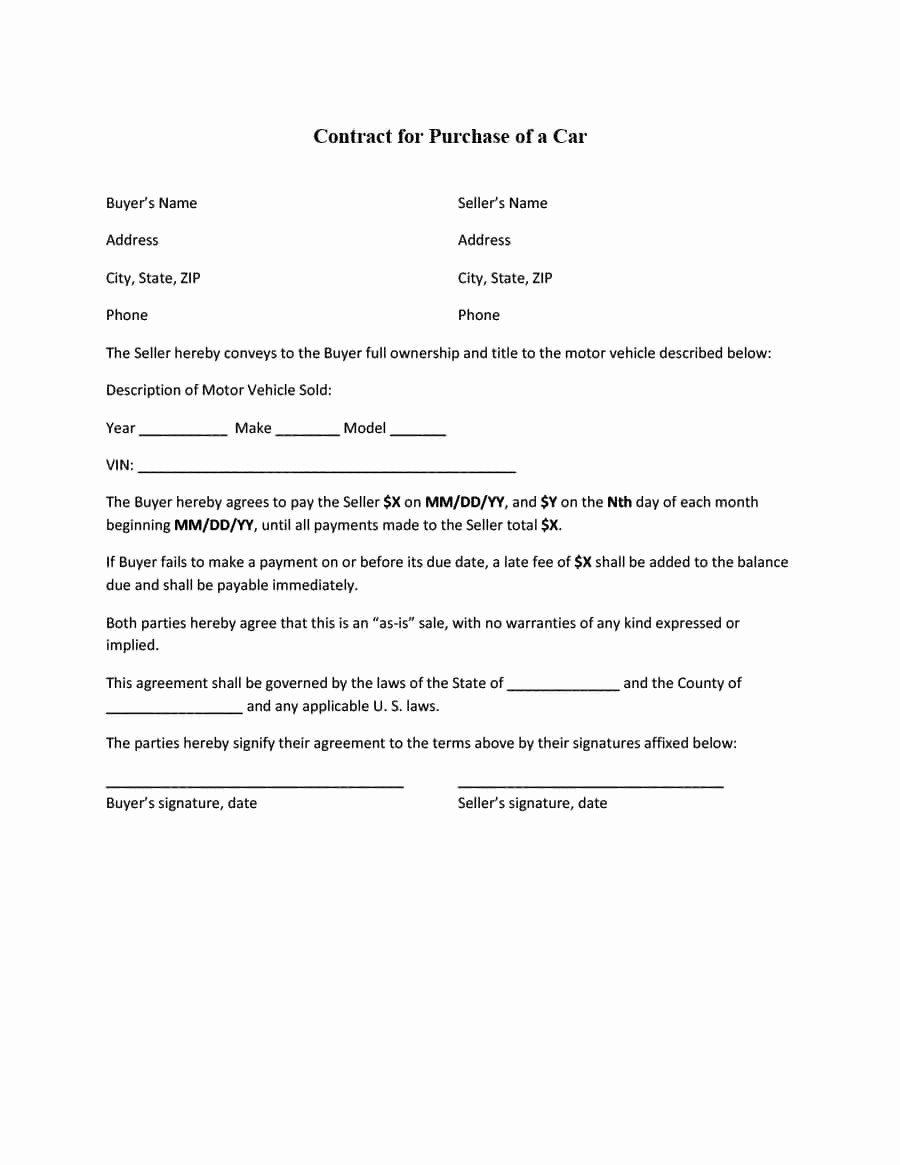 Vehicle Sale Agreement with Payments Awesome 42 Printable Vehicle Purchase Agreement Templates