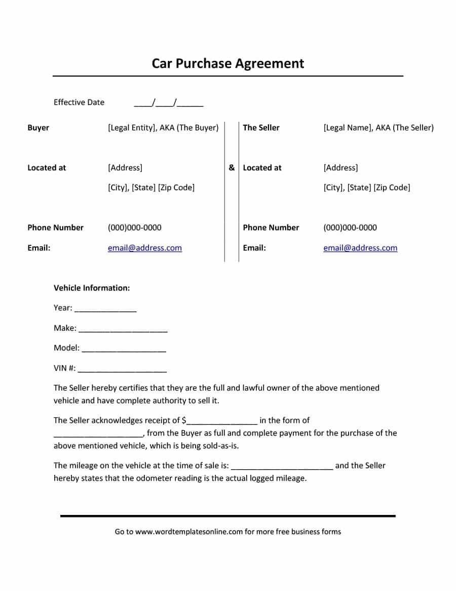 Vehicle Sale Agreement with Payments Beautiful 42 Printable Vehicle Purchase Agreement Templates