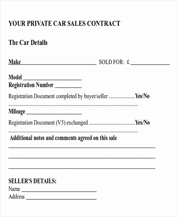 Vehicle Sale Agreement with Payments Elegant 12 Sample Car Sales Contracts
