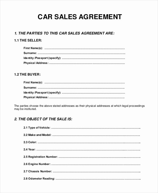 Vehicle Sale Agreement with Payments Fresh 10 Sample Sales Agreement forms Free Sample Example