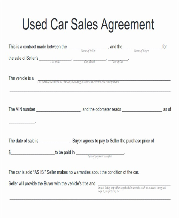 Vehicle Sale Agreement with Payments Fresh 12 Sample Car Sales Contracts
