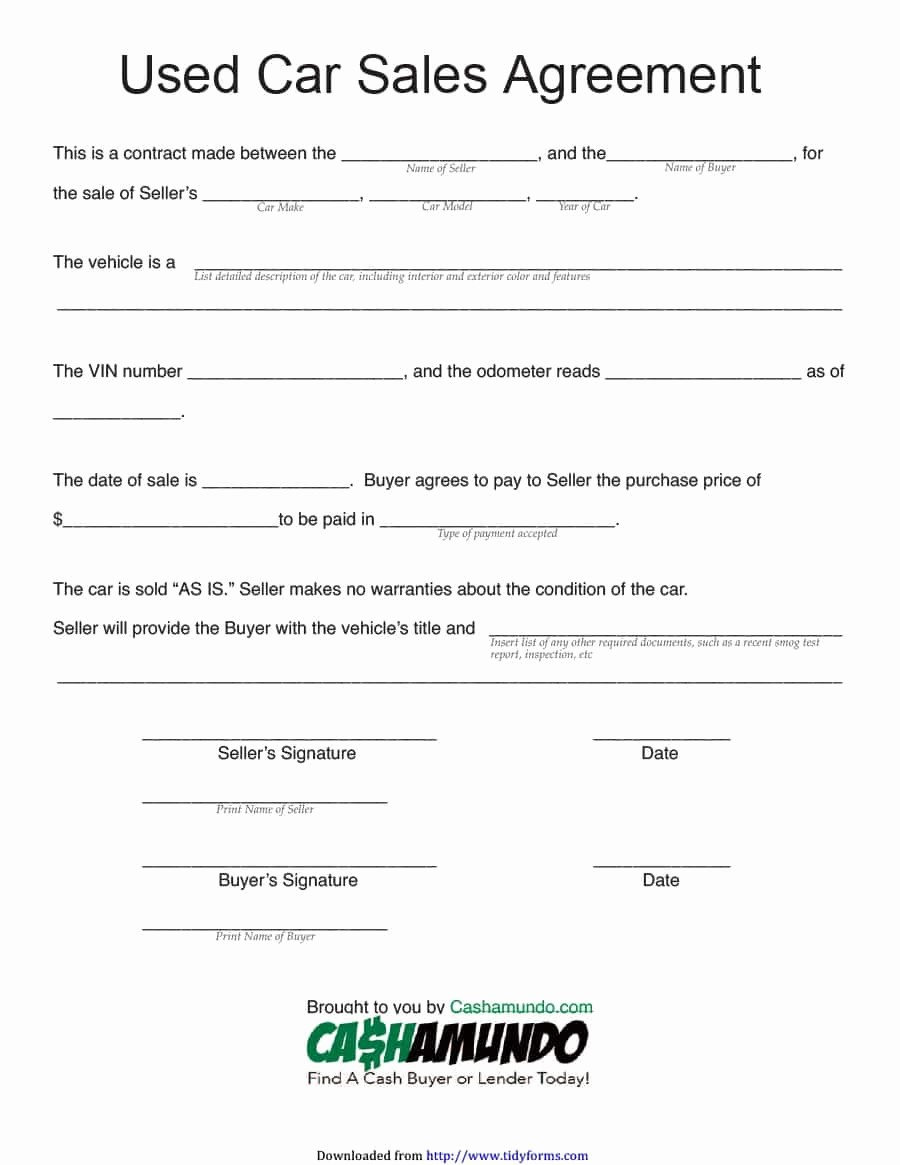 Vehicle Sale Agreement with Payments Fresh 42 Printable Vehicle Purchase Agreement Templates