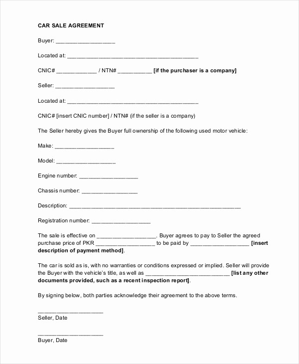 Vehicle Sale Agreement with Payments Luxury Sample Car Sale Contract forms 8 Free Documents In Pdf Doc