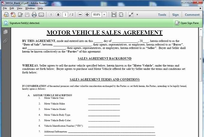 Vehicle Sale Agreement with Payments New 10 Best Of Motor Vehicle Sale Agreement Template