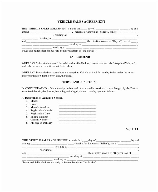 Vehicle Sale Agreement with Payments Unique 19 Purchase and Sale Agreement Templates Word Pdf