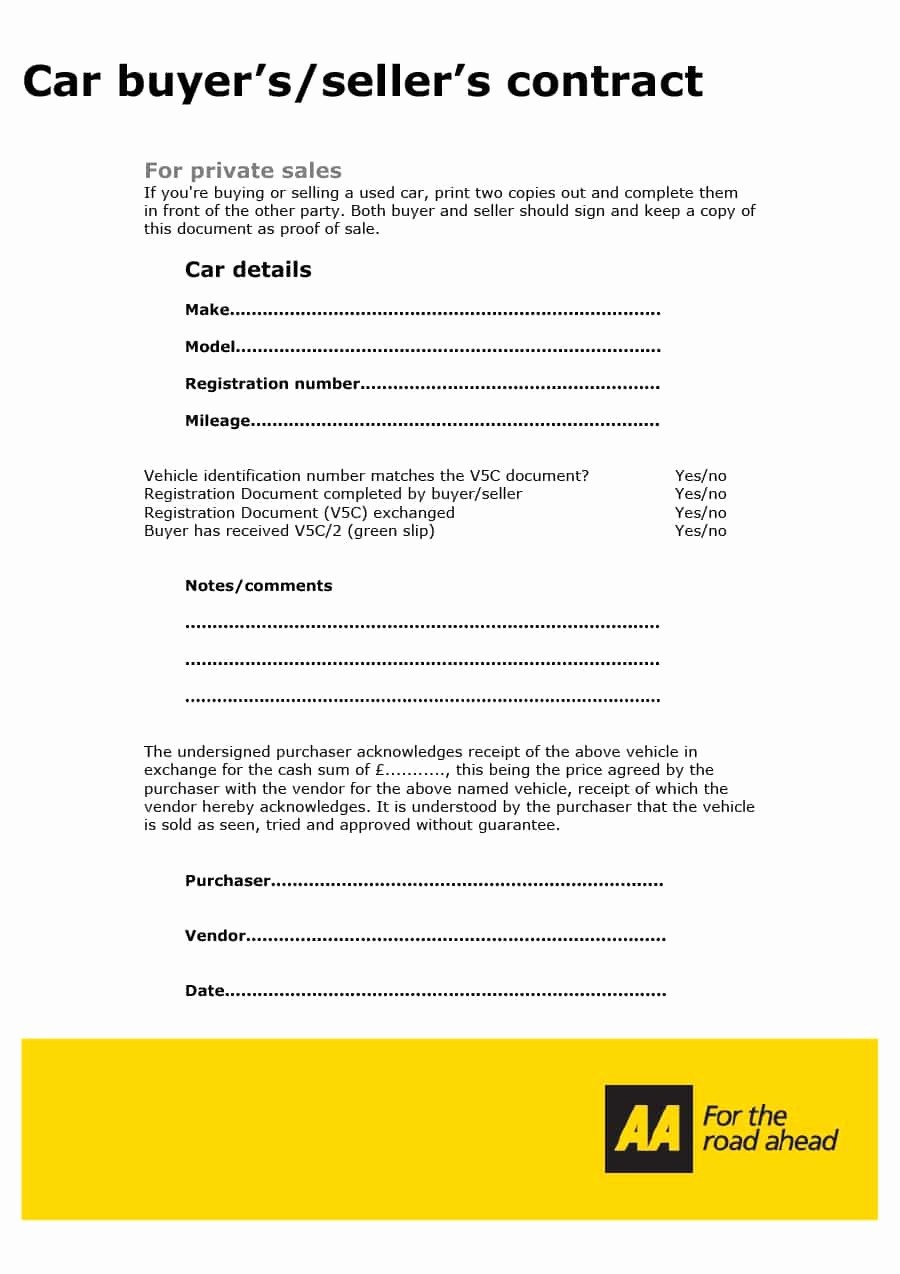 Vehicle Sale Agreement with Payments Unique 42 Printable Vehicle Purchase Agreement Templates