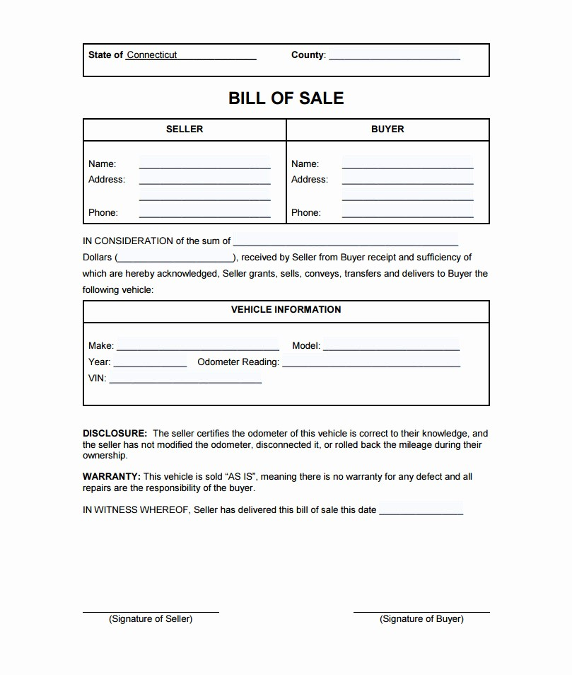 Vehicle Sale as is form Awesome Connecticut Bill Sale