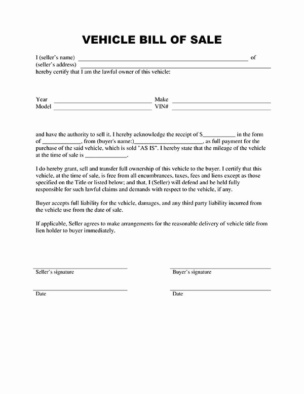 Vehicle Sale as is form Inspirational Bill Of Sale form Template