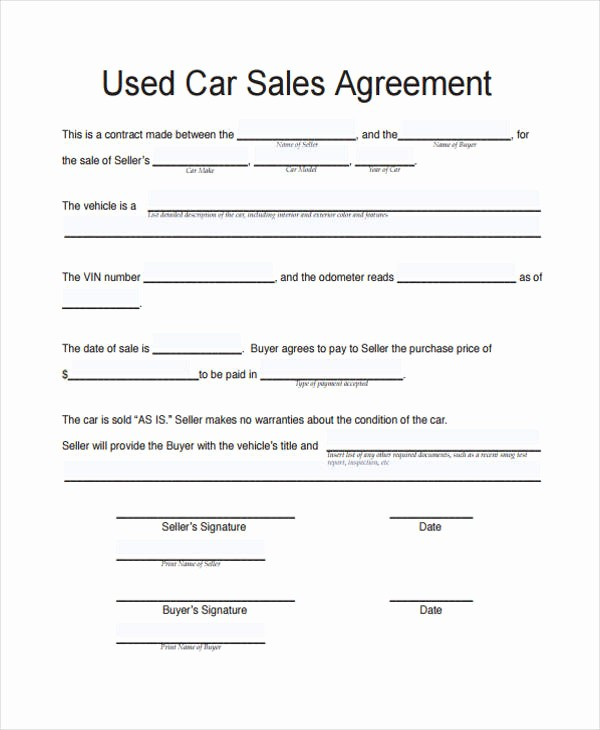 Vehicle Sale as is form New Vehicle Sale Agreement Template