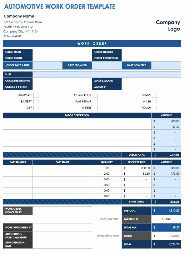 Vehicle Service Due Status Report Best Of 40 Work order Template Free Download [word Excel Pdf]